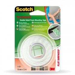 Scotch Rotolo Nastro Biadesivo Bianco 331915B12 19 mm x 1,5 Mt 27487