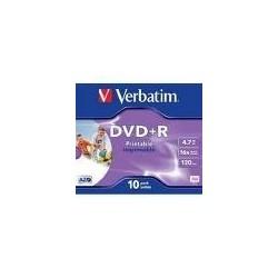 Verbatim DVD R Wide Inkjet Printable ID Brand 4.7GB DVD R 10pezzoi 4350810