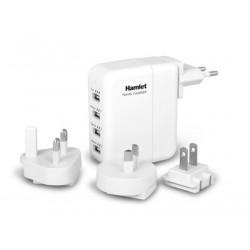 Hamlet Travel Charger Alimentatore USB da parete 4 porte con adattatori per 150 paesi XPWC420TRAV