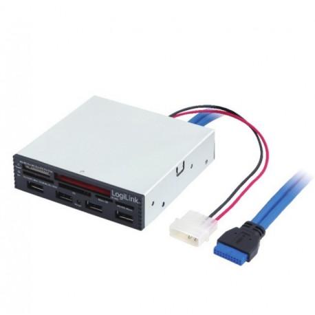 LogiLink Lettore Scrittore di Memorie Int. USB 3.0 Alloggio 3,5 '' con HUB 3 Porte Bianco IUSB3-CARD-4P2